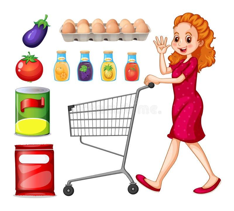 Senhora que faz compras na mercearia ilustração do vetor