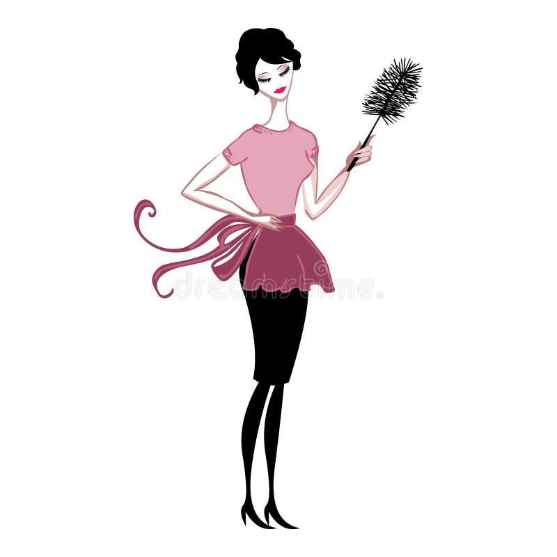 Senhora que limpa a poeira ilustração royalty free
