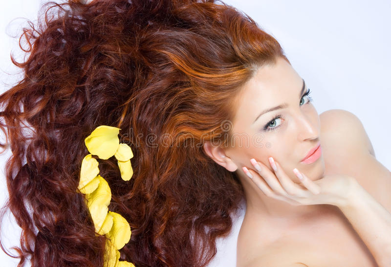 Senhora red-haired bonita do Close-up fotografia de stock royalty free