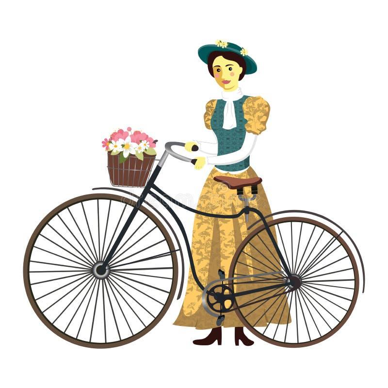 A senhora retro em uma bicicleta com ilustração do vetor do chapéu e da cesta isolou-se ilustração stock