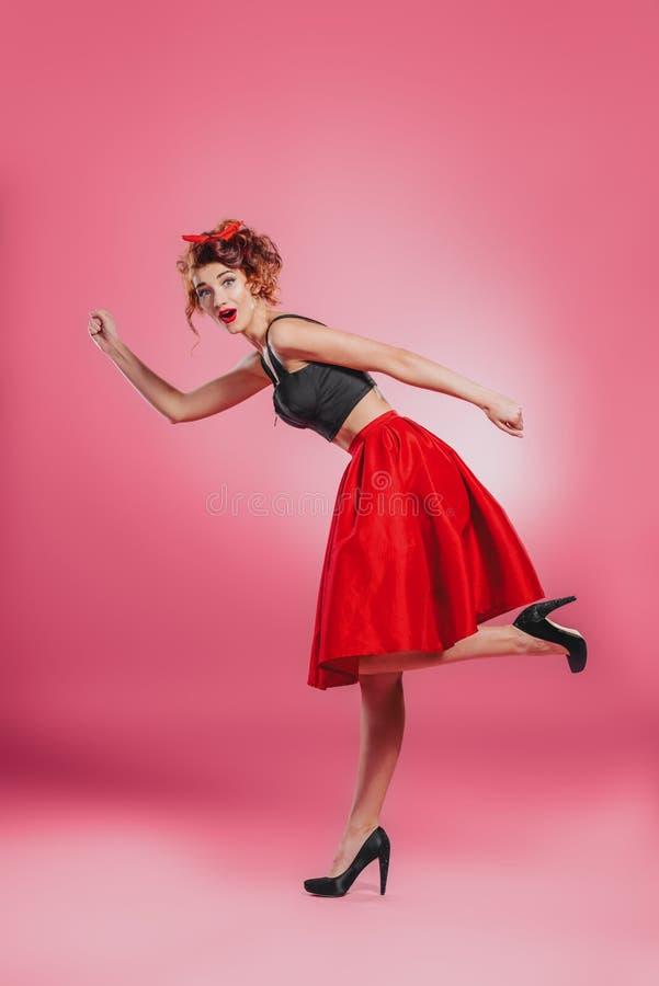 Senhora running do pino-acima foto de stock royalty free