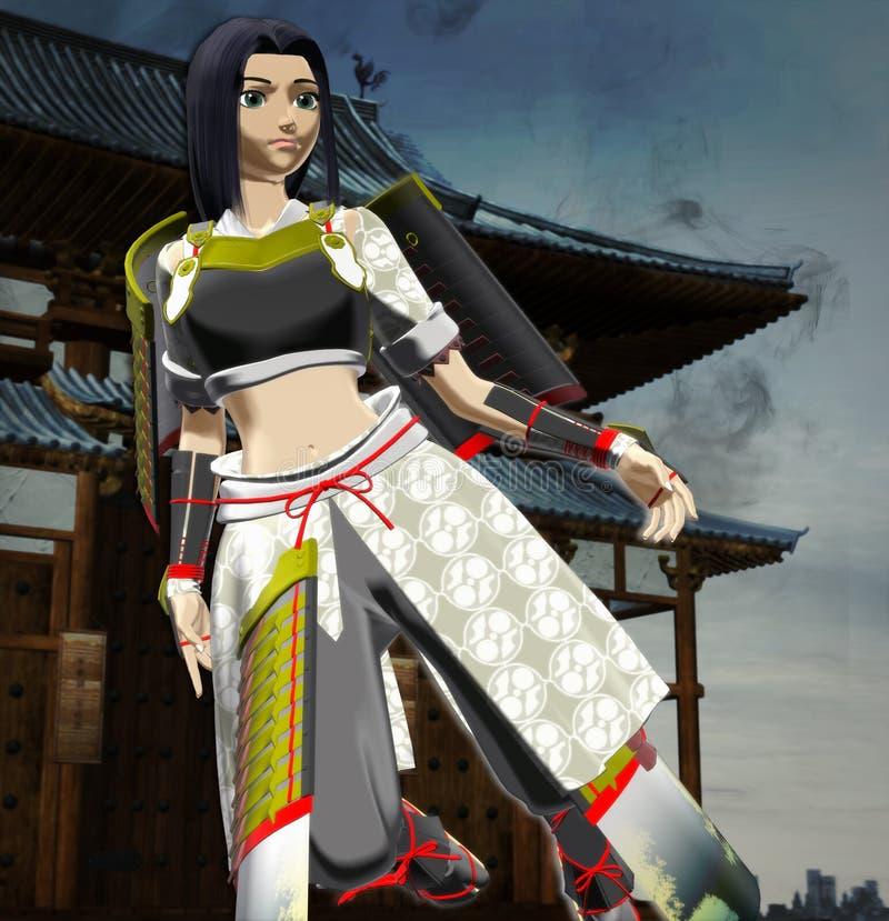 Senhora Samurai do Anime ilustração do vetor