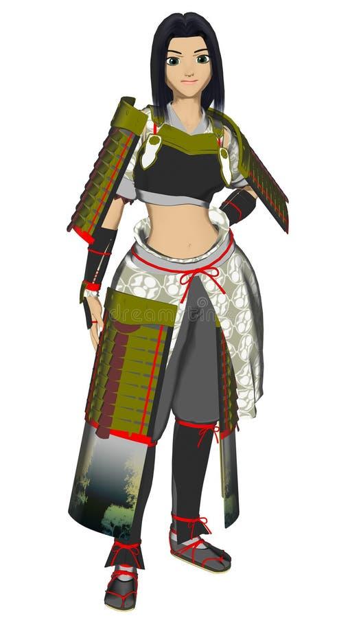 Senhora Samurai do Anime ilustração royalty free