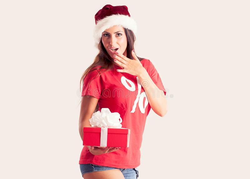 Senhora Santa com presente do Natal fotografia de stock