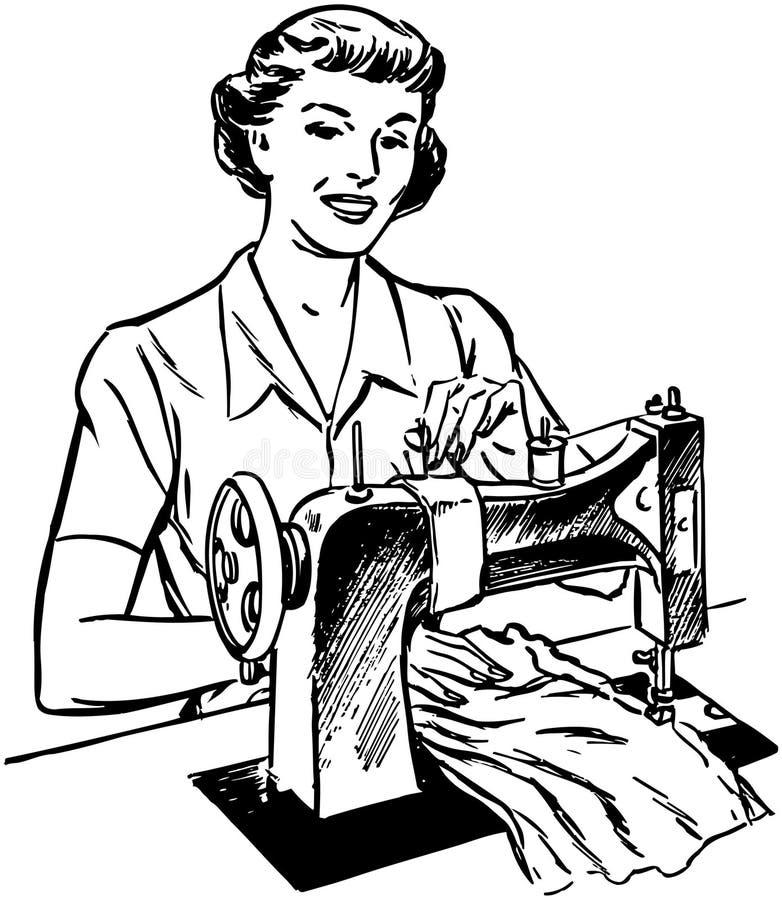 Senhora Sewing ilustração do vetor