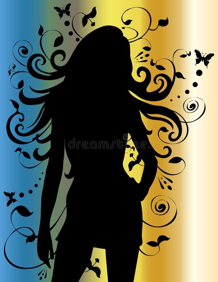 Senhora 'sexy' fêmea bonita Silhueta ilustração stock