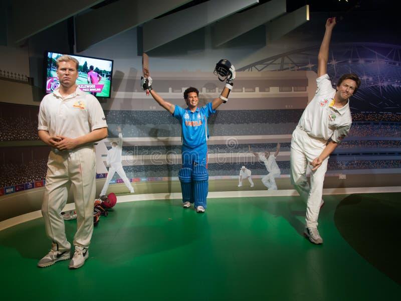 Senhora Tussaud dos jogadores de cricket fotos de stock royalty free