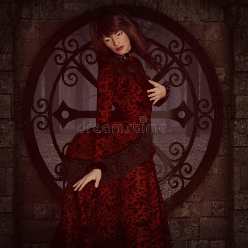 Senhora vitoriano na frente da janela ilustração stock