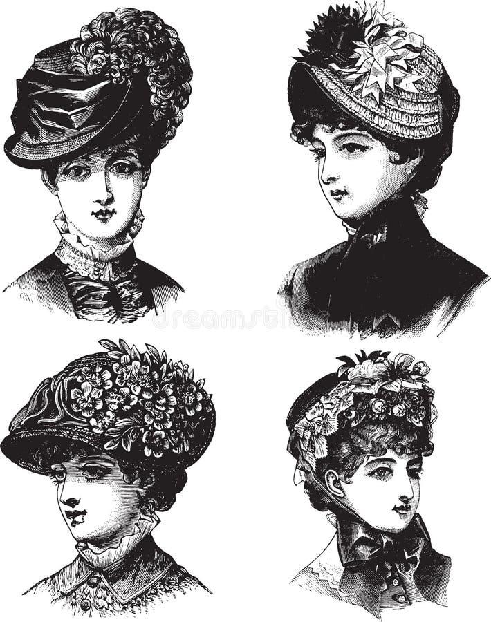 Senhoras do vintage com ilustração do vetor dos chapéus ilustração do vetor