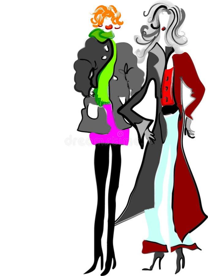 Senhoras dos desenhos animados ilustração do vetor