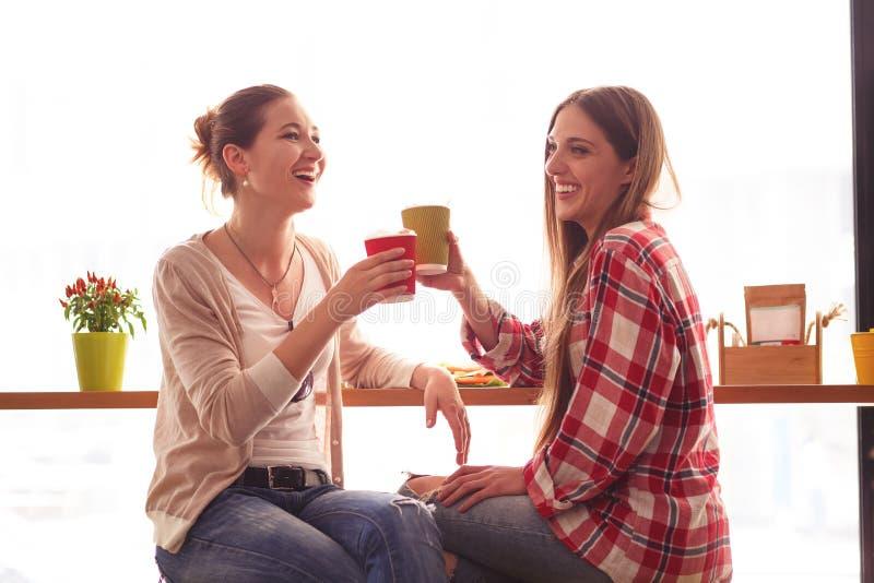 Senhoras dos melhores amigos no café fotos de stock