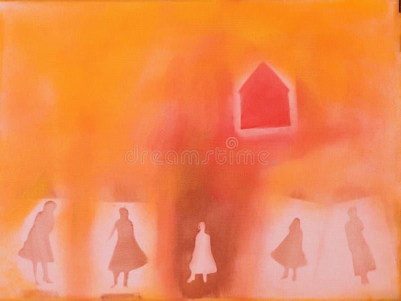 Senhoras e casa ilustração royalty free