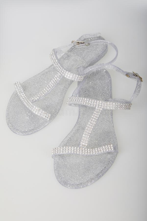 Senhoras Jelly Shoes curvada transparente fotografia de stock