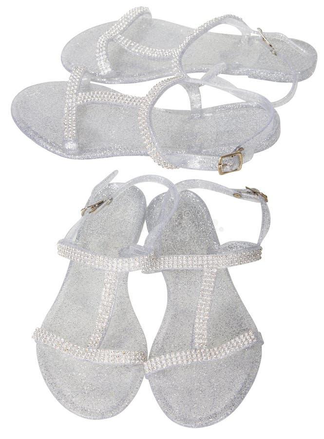 Senhoras Jelly Shoes curvada transparente imagens de stock