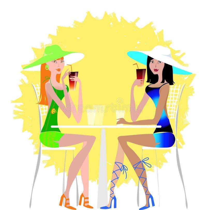 Senhoras que bebem o cocktail ilustração royalty free