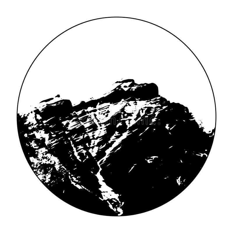 Senhorita Cascade Mountain In um círculo ilustração do vetor