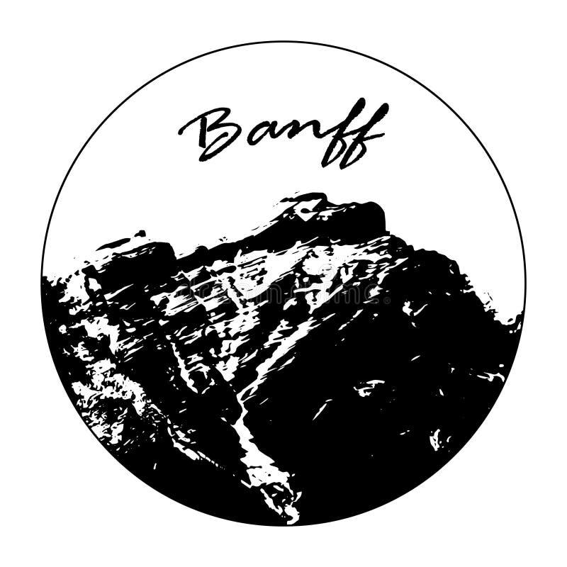 Senhorita Cascade Mountain In um círculo com texto do ` de Banff do ` ilustração royalty free