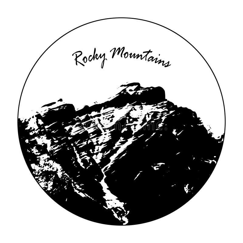 Senhorita Cascade Mountain In um círculo com texto do ` de Rocky Mountains do ` ilustração stock