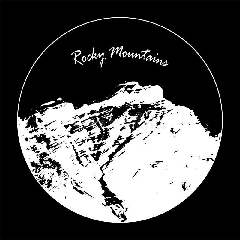 Senhorita Cascade Mountain In um círculo com texto do ` de Rocky Mountains do ` no fundo preto ilustração do vetor