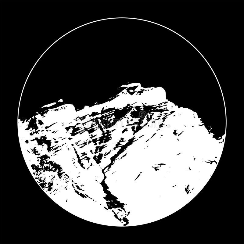 Senhorita Cascade Mountain In um círculo no fundo preto ilustração stock