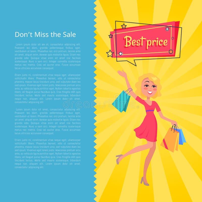 Senhorita de Don t cartaz dos preços da venda o melhor com mulher ilustração royalty free