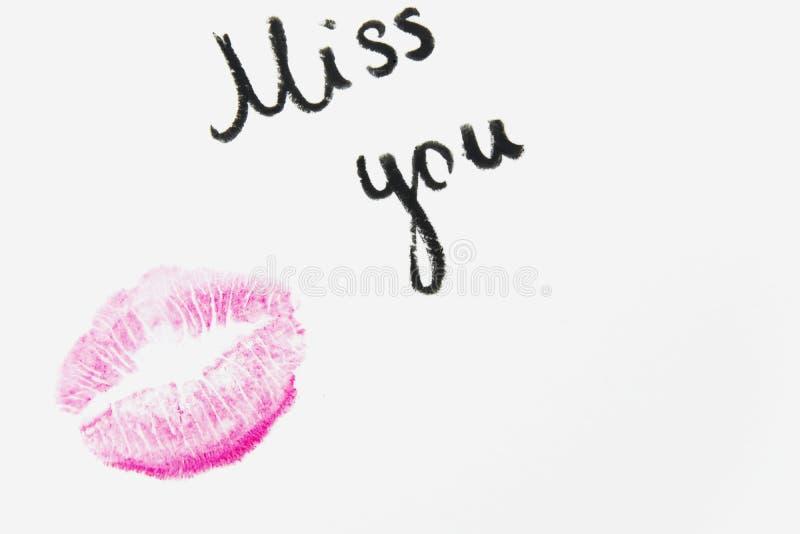 Senhorita do ` você texto do ` com beijo do batom no fundo branco fotografia de stock royalty free