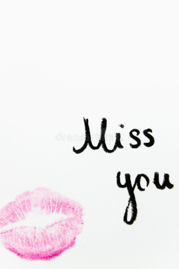 Senhorita do ` você texto do ` com beijo do batom no fundo branco imagens de stock royalty free
