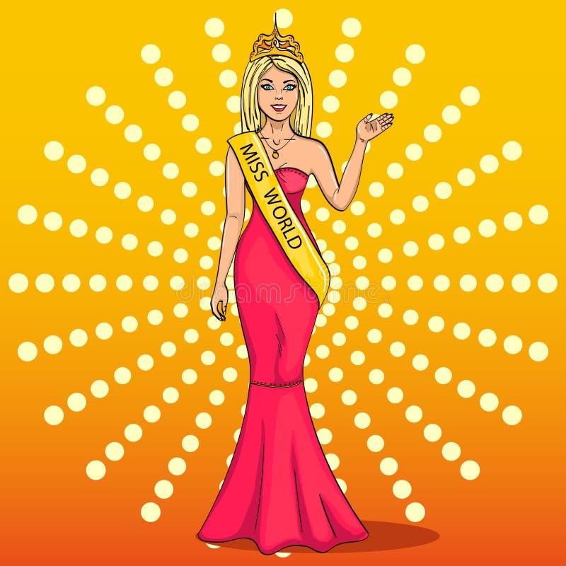 Senhorita o mundo da beleza A menina, vencedor da competição dos modelos Vetor, pop art A imitação do cômico ilustração do vetor