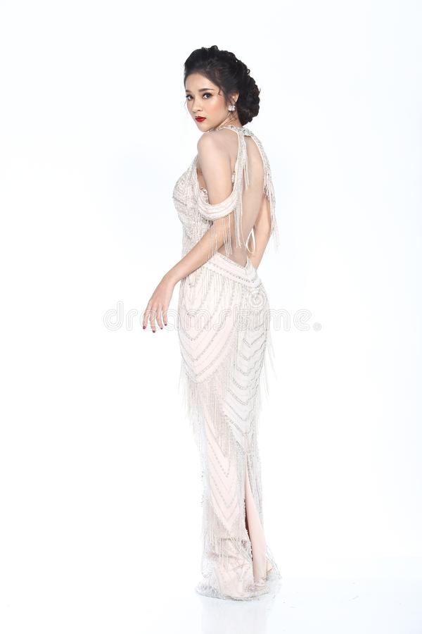 Senhorita Pageant Contest no vestido de bola longo do vestido de bola da noite com D imagens de stock