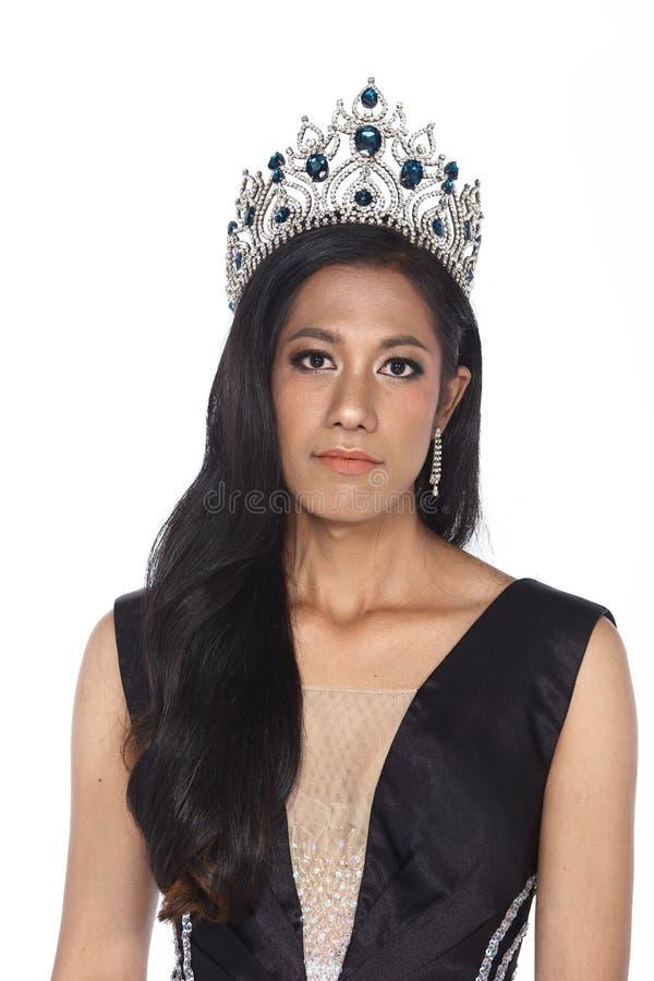 Senhorita Transgender Pageant Contest na bola longa do vestido de bola da noite fotos de stock