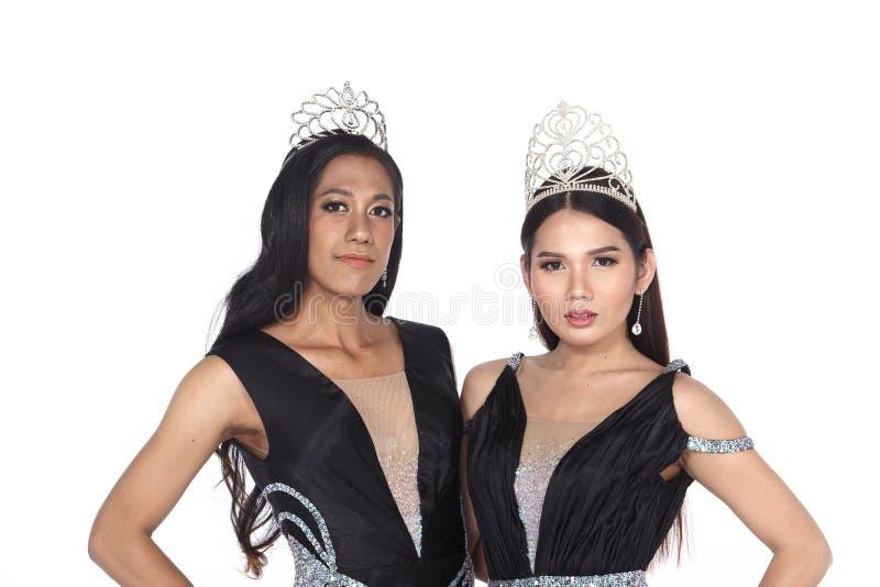 Senhorita Transgender Pageant Contest na bola longa do vestido de bola da noite foto de stock royalty free