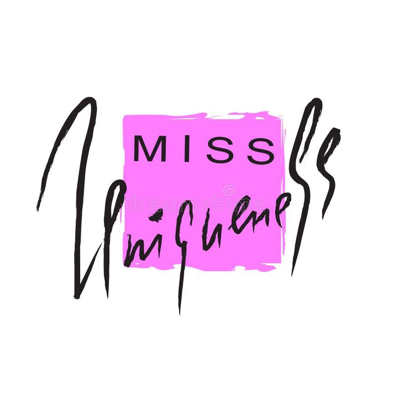 Senhorita Uniqueness - emocional inspire e citações inspiradores Rotulação bonita tirada mão ilustração royalty free