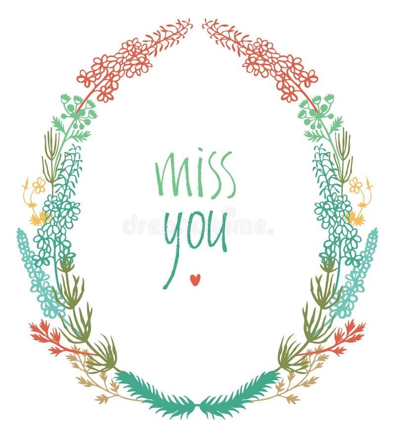 Senhorita você projeta o cartão com a vinheta floral colorida ilustração stock