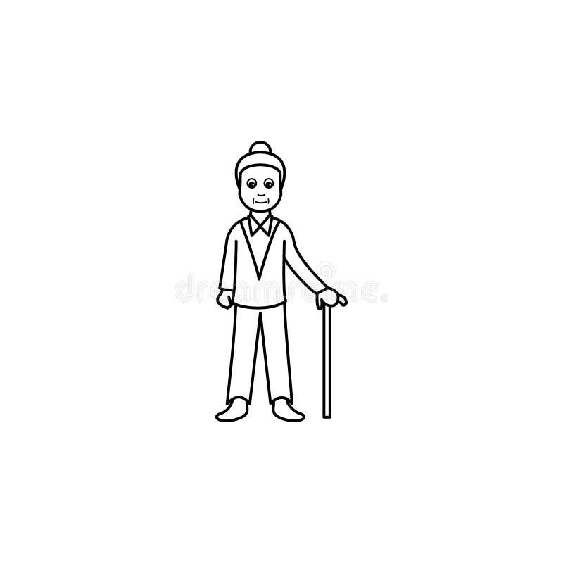 senil ålder av en kvinnasymbol Beståndsdel av utvecklingssymbolen för mobila begrepps- och rengöringsdukapps Tunn linje symbol fö stock illustrationer
