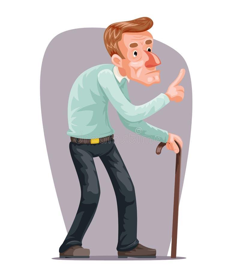 Senil gammal demens Cane Cartoon Character Design Vector för gamal manBent Walking Wise Moral Preaching anvisning royaltyfri illustrationer