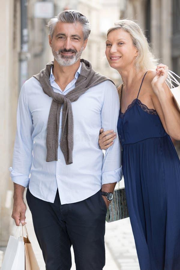 Senior adult couple shopping lifestyle royalty free stock image