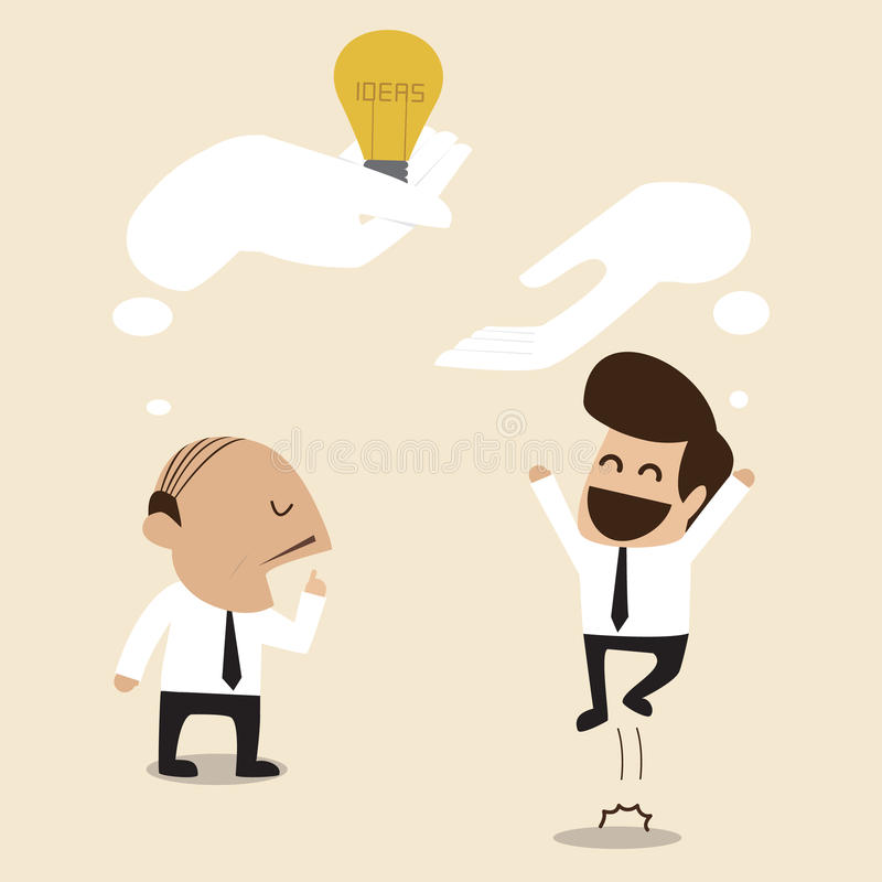 Senior advisor give an idea to young businessman. Vector cartoon of Senior advisor give an idea to young businessman stock illustration