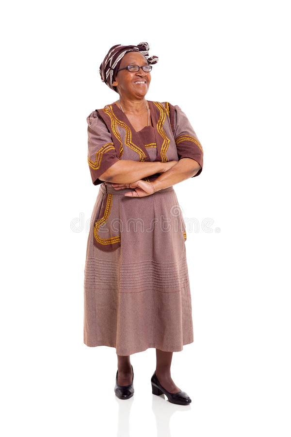 Senior african woman looking up