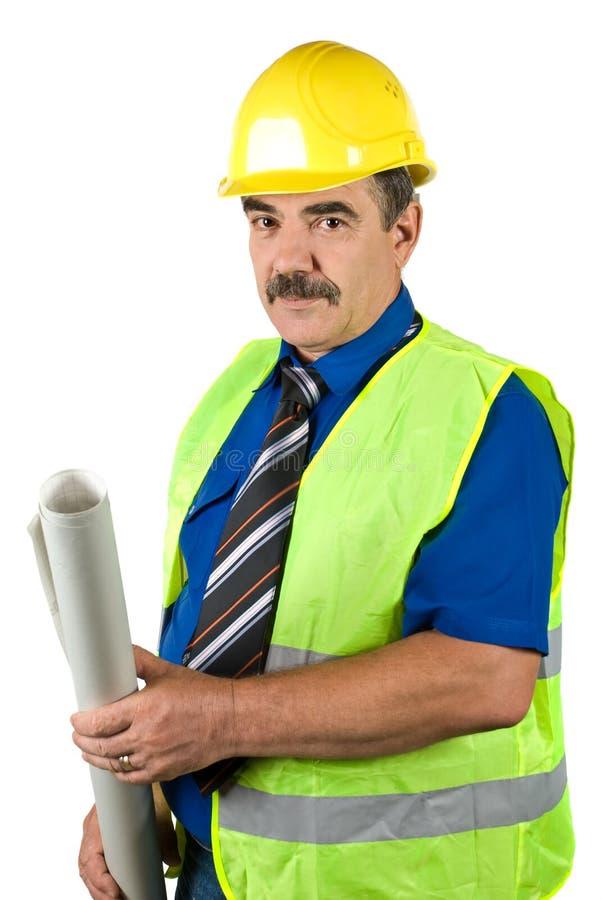 Senior Architect Man Holding Blueprints Stock Photos