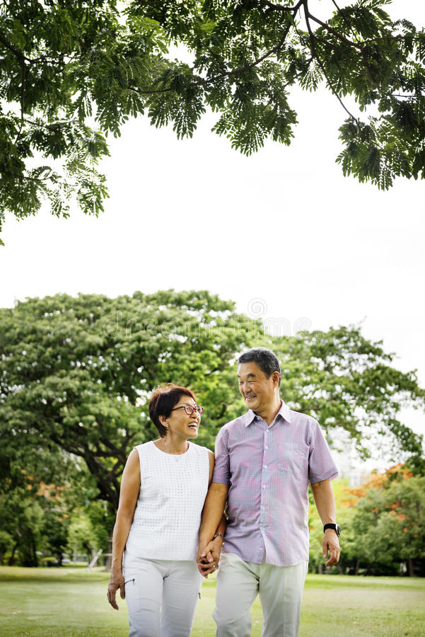 Senior Asian Couple Outdoors Nature Concept stock image