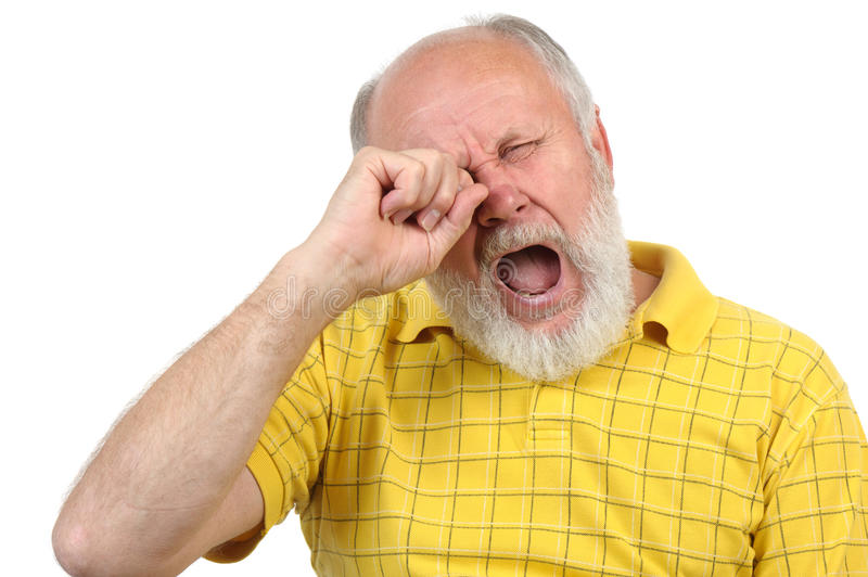 Senior bald and bearded man is bored royalty free stock photos