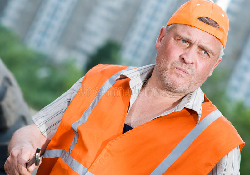 Senior builder at work royalty free stock images