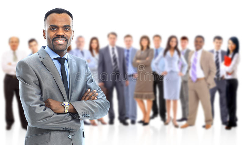 Senior business man. Leader and her team, Young attractive business people with focus only on businesswoman in the middle stock images