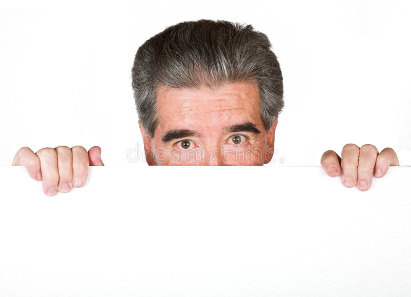 Download Senior Business Man Peeping Over Stock Image - Image: 1071281