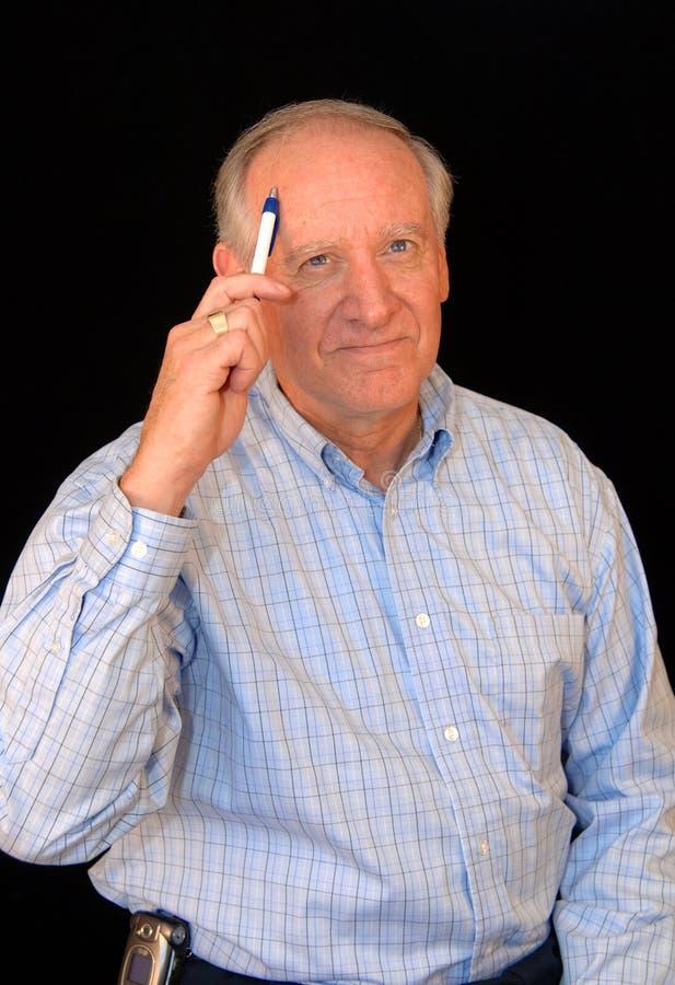 Senior business man thinking royalty free stock photography