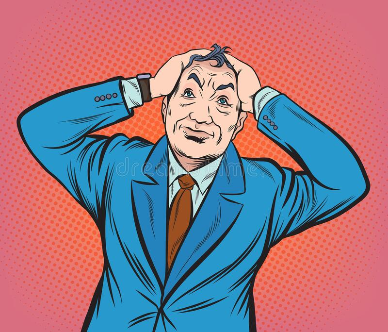 Senior business people are concerned with both hands holding their heads.Pop art vector illustration drawing. Comic book work styl stock photography