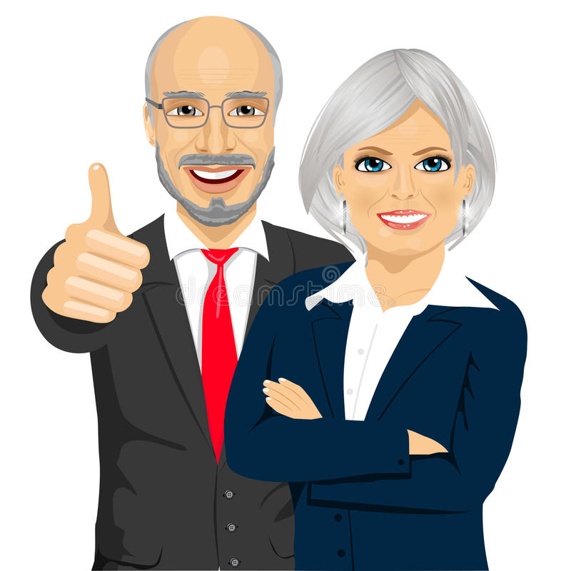 Senior business people partners standing together with crossed arms stock illustration