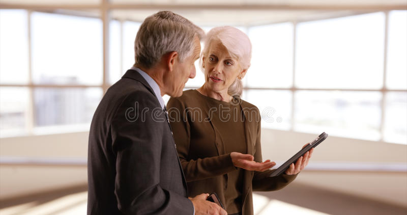 Senior business team working in the office with tablet royalty free stock images
