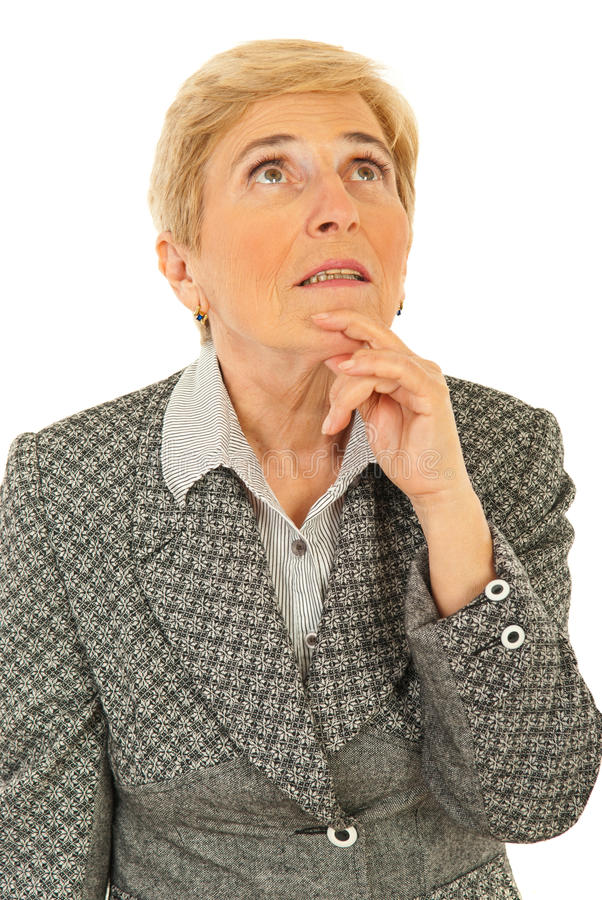 Senior business woman thinking stock images