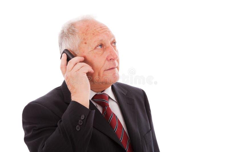 Senior businessman call stock image
